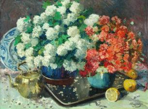 Натюрморт с цветами и лимонами