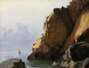 Скалистое побережье с парусной лодкой