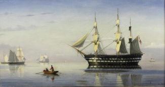 Датский фрегат и другие суда, стоящие на якоре в Эресунне