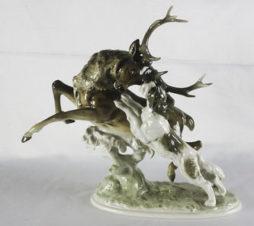 фарфоровая статуэтка «охота на оленя»