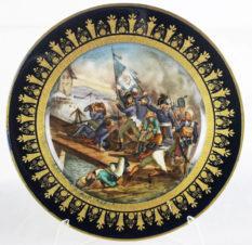 Антикварная фарфоровая тарелка с изображением батальной сцены на Аркольском мосту в 1796 году