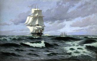 Фрегат в открытом море