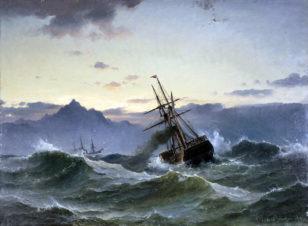Морской пейзаж с кораблем в шторм