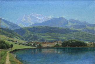 Вид озера Анси и вершины Ла Турнет