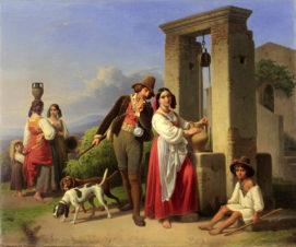 Охотник и молодая итальянка у колодца