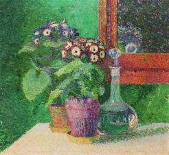 Натюрморт с цветочными горшками и графином
