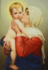 Старинный фарфоровый пласт «Мадонна с младенцем»