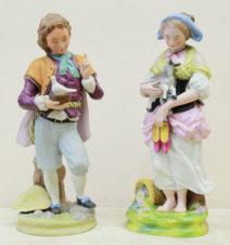 парные статуэтки «мальчик с голубем и пастушка с ягненком»