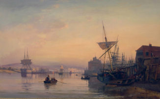 Вид портового итальянского города
