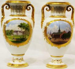 Старинные парные вазы с видами королевских дворцов