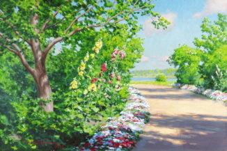 Дорога в саду у озера