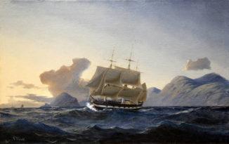 Морской пейзаж с военно-морским судном у скалистого берега