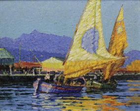 Средиземноморский пейзаж с двумя парусными лодками