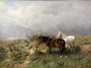 Пейзаж с двумя лошадьми и охотничьей собакой