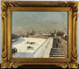 Оживленный вид на Москву под снегом, с набережных Москвы и с ледорубами