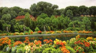 Пруд в цветущем саду