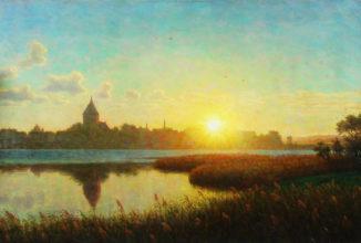 Восход солнца, вид Рибе с церковью Святой Екатерины