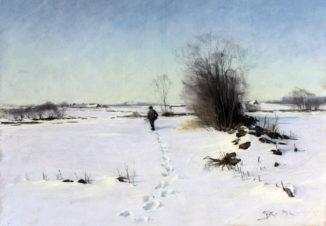Зимний пейзаж с охотником