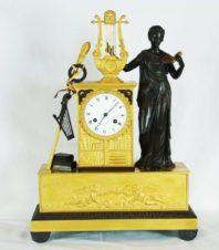 Cтаринные каминные часы с боем в стиле ампир «Эвтерпа — покровительница музыки»