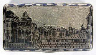 Серебряная табакерка с чернью с видами Москвы