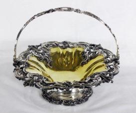 Большая старинная серебряная ваза для фруктов стиле второго рококо