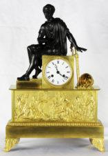 Cтаринные каминные часы с боем в стиле ампир «Древнегреческий мыслитель Сократ»