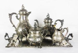 Старинный серебряный чайно-кофейный сервиз с подносом в стиле рококо