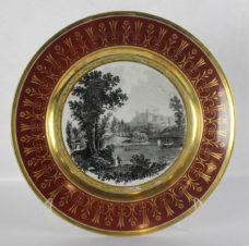 Старинная фарфоровая тарелка с видом Санкт-Петербурга ( Гатчинского дворца )
