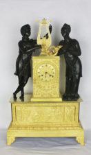 Старинные каминные часы с боем в стиле ампир «Орфей и Эвридика «