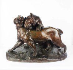 Бронзовая скульптура «Играющие тигр и тигрица» 1890-е годы