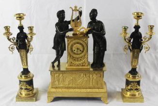 Каминный гарнитур в стиле ампир — часы «Орфей и Эвридика «,канделябры в виде античных нимф