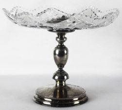 Старинная серебряная ваза для фруктов с хрусталем