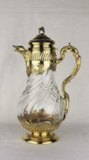 Серебряный антикварный кувшин в хрустале с растительным орнаментом в стиле неорококо