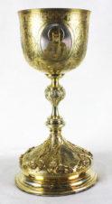 Старинный серебряный потир с изображением Христа, Богоматери и Иоанна Крестителя