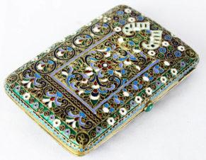 Старинный серебряный портсигар с перегородчатой эмалью