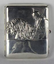 Старинный серебряный портсигар «Богатырь на коне» в русском стиле