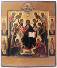 Старинная икона «Спаситель на престоле (Спас на троне)»