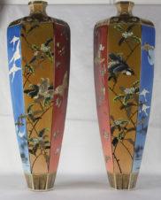 Парные напольные вазы с изображением цветов, птиц и бабочек
