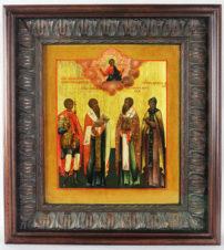 Старинная икона «Георгий Победоносец святой великомученик, святой Василий Великий, святой апостол Иаков, святая преподобномученица Феодосия»