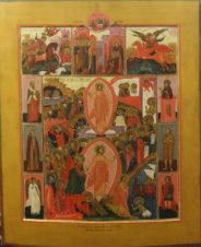 Подписная палехская старинная икона «Воскресение Христово с избранными святыми»