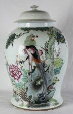 Старинная китайская фарфоровая ваза с изображением птиц и цветов