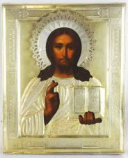 Старинная икона «Господь Вседержитель» (Спаситель) в серебряном окладе