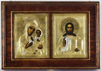 Венчальная пара иконы антикварные — «Господь Вседержитель (Спаситель)» и Божией Матери «Иверская «