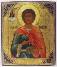 Старинная икона «Святой целитель Пантелеймон»
