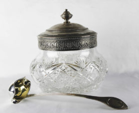 Антикварная чаша из хрусталя с серебром для пунша (крюшона) с половником