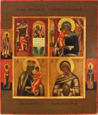 Старинная икона четырехчастная «Нечаянная Радость»; «Взыскание Погибших»; «От Бед Страждущих «; «Умягчение Злых Сердец»