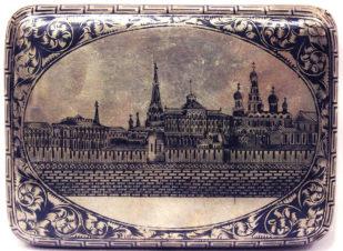 Серебряный портсигар с чернью с изображением Московского Кремля