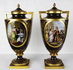 дворцовые старинные парные вазы с античными сценами