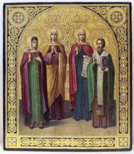 Старинная икона «Святая княгиня Ольга, святая мученица Елизавета, святая великомученица Параскева, святой Василий Великий»