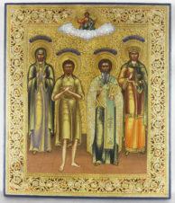 Старинная икона «Святая праведная Анна, святой Божий человек Алексей, Александр, святая великомученица Варвара»